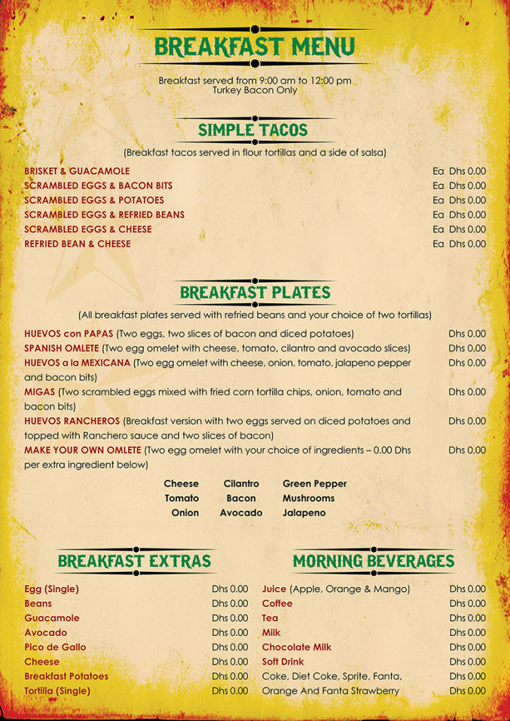 Breakfast Menu Cards