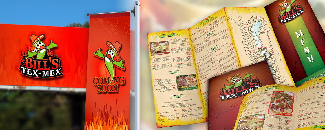 Flyers and promotional banners for American/Tex-Mex cuisine restaurant