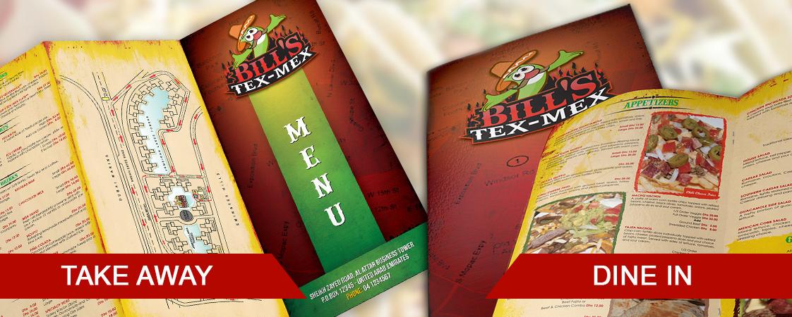 Menu card design for Bill's Tex-Mex